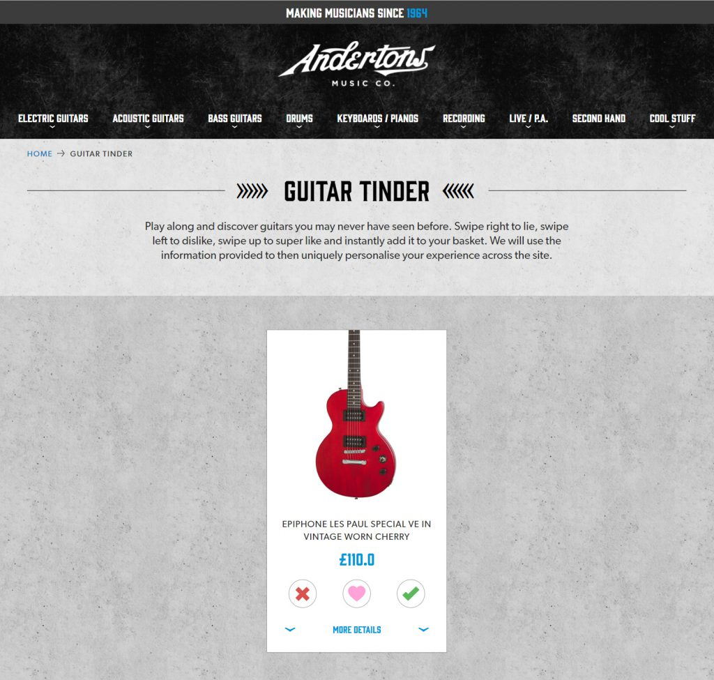 Screenshot of a user interface like the app 'Tinder' but with guitars instead of people.