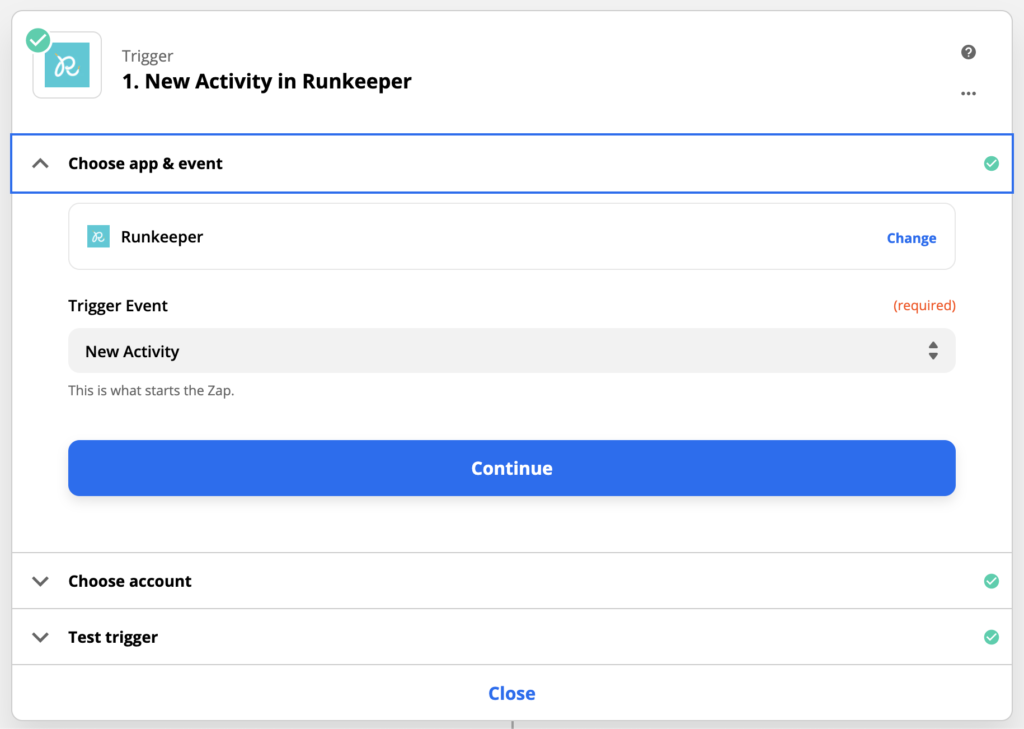 An image of Zapier showing the first step of setting up a Runkeeper integration