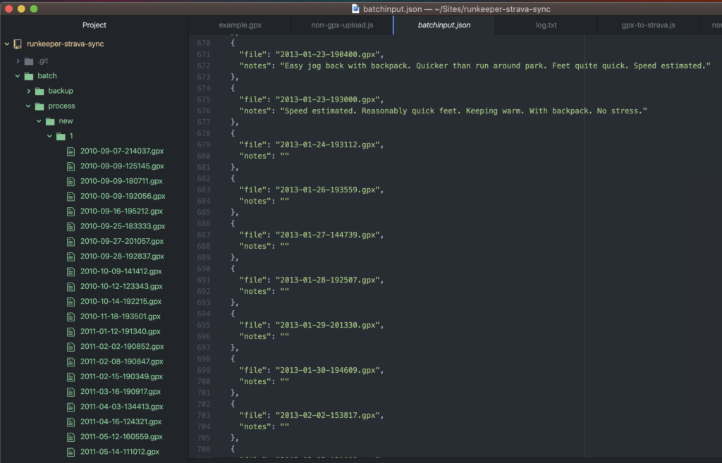 Screenshot of a text editor showing how I batch processed historical GPX data.